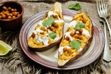 Roasted chickpeas stuffed sweet potato with Greek yogurt cilantr