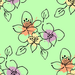 Seamless vector hand drawn seamless floral  pattern. Green Background with flowers, leaves. Decorative graphic vector drawn illustration. Line drawing