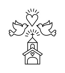 church with doves and heart icons over white background. save the date deisgn. vector illustration