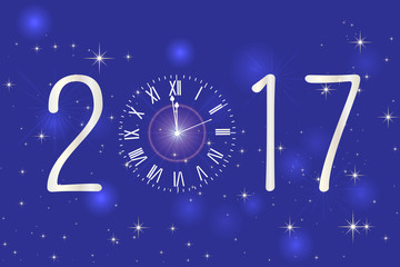 Happy New Year 2017. Vector background.Typographic Wishes and Winter Holiday Elements on blue background. Greeting illustration for Xmas. Template for invitation, flyer, banner, poster, rooster year.