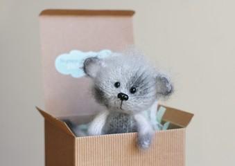 Handmade stuffed toy in gift box