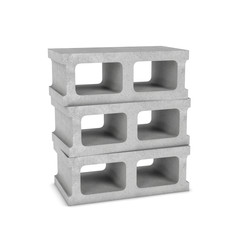 Rendering of three cinder blocks isolated on the white background