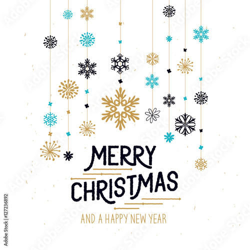 merry christmas decorations hanging snowflakes and merry christmas sign vector illustration
