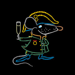 Rat Napoleon with a glass of champagne