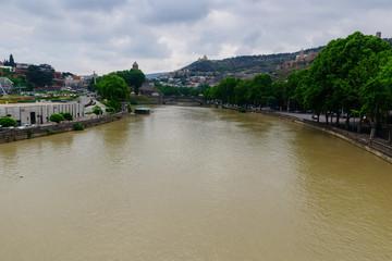 Beautiful city landscape with Kura river, Tbilisi, Georgia