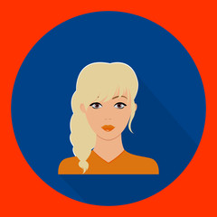vector image of female face blonde flat red and blue background