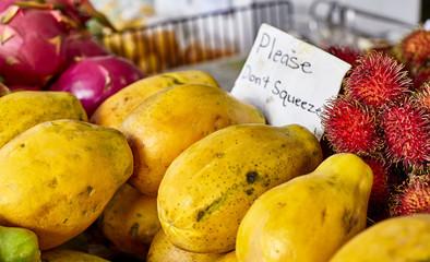 Exotic Rambutan Papaya and Dragon Fruit at Farmers Market