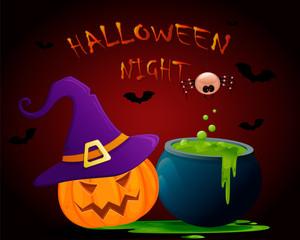 Halloween Night poster. Vector illustration. Pumpkin, potion, bats, spider