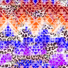 cool Aztec geometric gradient over leo pattern - seamless background