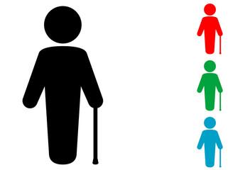 Icono plano hombre con baston en varios colores