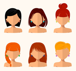 Young pretty women, pretty faces with different hairstyles, hair color. flat design, beauty and fashion. Simple style