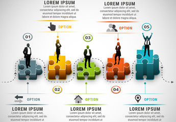 Businesspeople on Puzzle Pieces Element Infographic