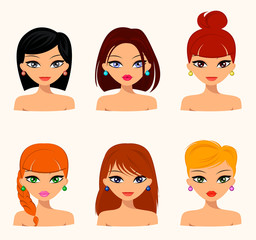 Young pretty women, pretty faces with different hairstyles, hair color. flat design, beauty and fashion. Vector editable