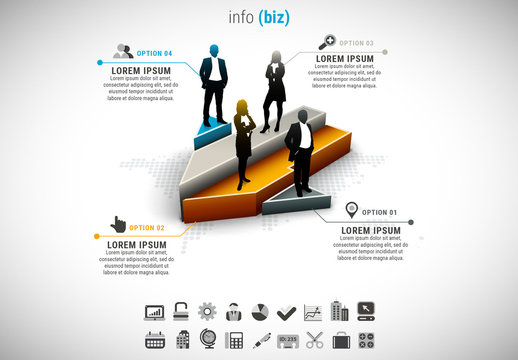 Businesspeople on Arrow Blocks Element Infographic 3