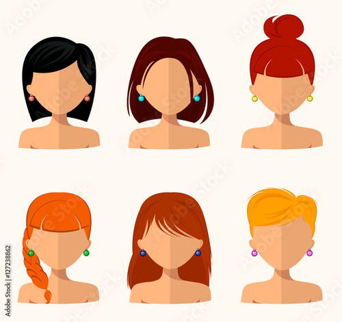 Young Pretty Women Pretty Faces With Different Hairstyles Hair Color Flat Design Beauty And