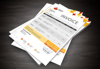 Orange Starbursts Element Invoice Layout