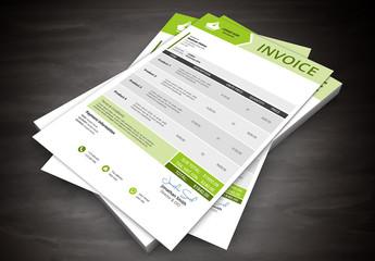 Green Arrow Header Element Invoice Layout