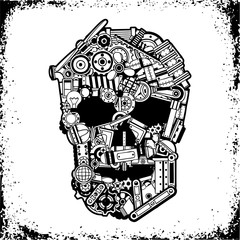 Black and white skull of a variety of mechanical spare parts, scrap metal in a grunge frame. Vector illustration.