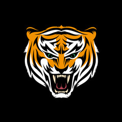 Stylized head of snarling tiger isolated on black background - mascot logo. Vector  layered illustration.
