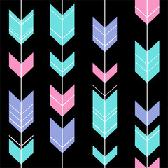 pastel arrow on black background pattern seamless ethnic hipster