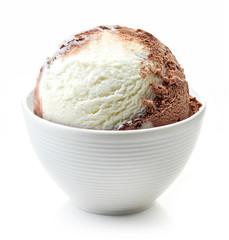 vanilla and chocolate ball in white bowl