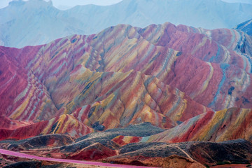 Door stickers China Rainbow mountains, Zhangye Danxia geopark, China