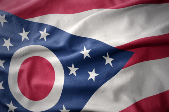 waving colorful flag of ohio state.
