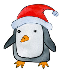 Beautiful hand drawn watercolor cartoon style penguin celebrating Christmas
