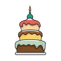 happy birthday delicious cake vector illustration design