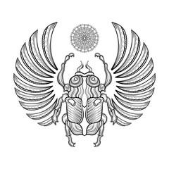 Hand drawn Vector illustration egyptian scarab beetle. Zentangle