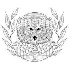 Vector Bear in hat with wreath, zentangle, doodle style. Hand dr