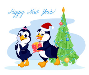 Penguin gives a gift near the Christmas tree. The inscription ha