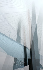 Abstract composition with golden bridge. Vladivostok. Russia