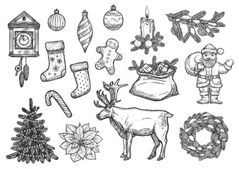 Christmas, New Year ornaments sketch