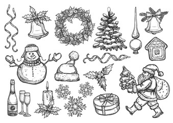 New Year, Christmas holiday vector sketch symbols