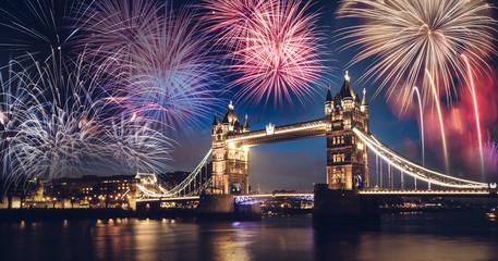 Fotobehang Londen Tower bridge with firework, New Year in London, UK