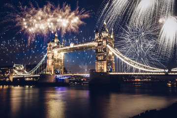 Tower bridge with firework, New Year in London, UK