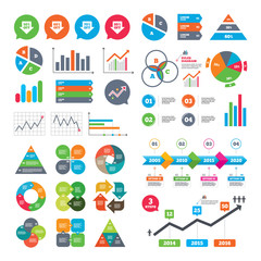 Business charts. Growth graph. Sale arrow tag icons. Discount special offer symbols. 50%, 60%, 70% and 80% percent off signs. Market report presentation. Vector