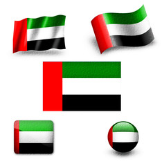 arabian emirates flag icon set