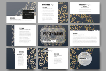 Set of 9 templates for presentation slides. Golden microchip pattern, abstract template with connecting dots and lines, connection structure. Digital scientific vector background