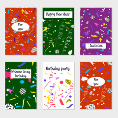 Set of party cards and invitations.