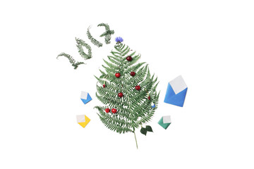 Christmas card 2017. Green fern, red cherries, small colored envelopes and cornflower are isolated on a white background.