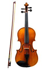 Violin with bow isolated on white