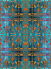 Ethnic seamless pattern. Boho turquoise and gold ornament. Repeating background.