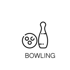 Bowling flat icon or logo for web design.