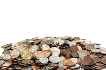 Pile of US coins with copy space above. Horizontal. Wall mural