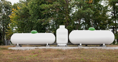 Propane tanks. Horizontal.