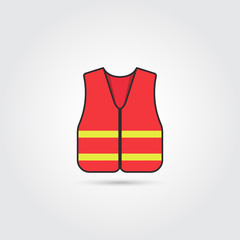 Orange safety vest icon - Vector