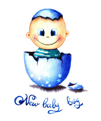 Funny little baby boy was born from an egg hatched. Newborn child watercolor illustration for greeting card, sticker, poster, banner. Isolated on white background.