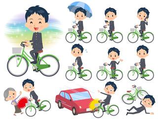 school boy gakuran ride on city bicycle